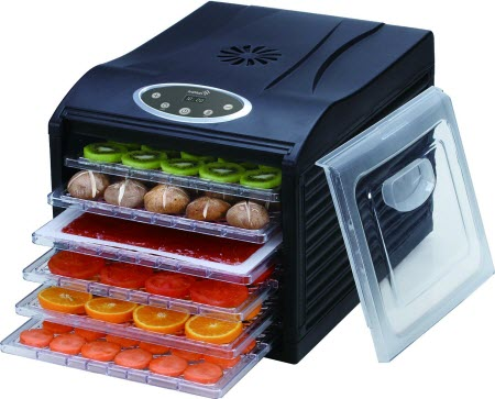 place food on food dehydrator trays