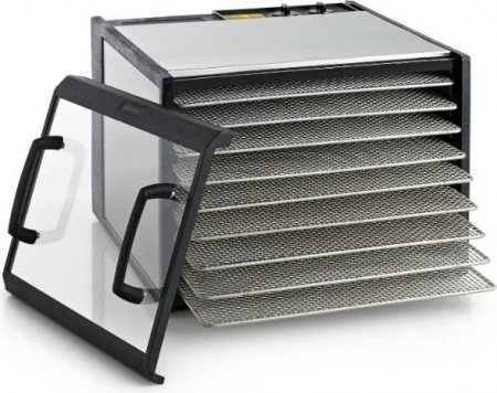 Excalibur 9-Tray Clear Door Stainless Steel Dehydrator w/Stainless Steel Trays, Model D900CDSHD