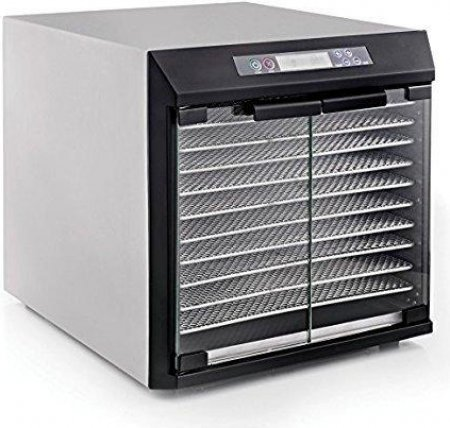 Excalibur Dehydrator EXC10EL 10-Tray Glass Doors, Stainless Steel with Stainless Steel Trays