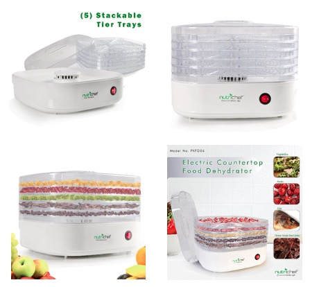 NutriChef Electric Food Dehydrator Beef Jerky Dried Fruit Maker Dehydrators | Compact Design | White (PKFD06)