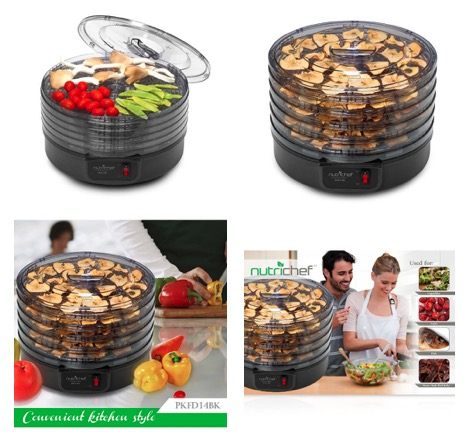 NutriChef PKFD14BK Kitchen Electric Countertop Food Dehydrator & Food Preserver, Black