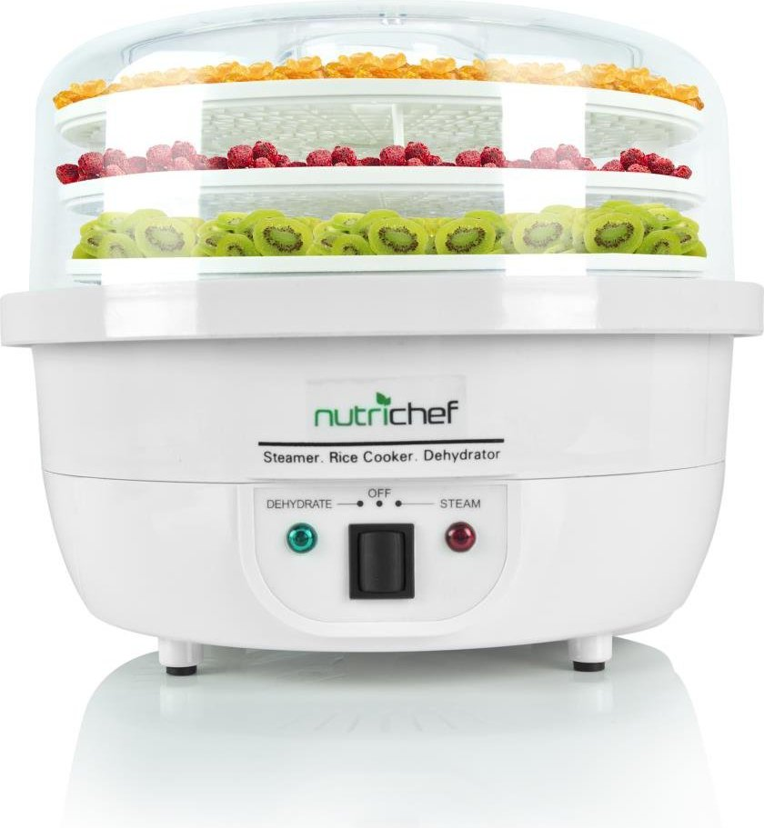 NutriChef 3-in-1 Food Dehydrator & Steamer Cooker Front View