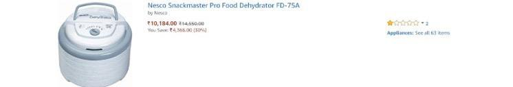 Low Ratings on Food Dehydrators