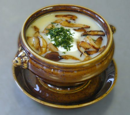 Recipe 6: Cream of Wild Mushroom Soup with Sage, Caramelized Onion and Roasted Garlic