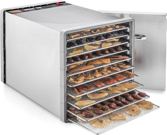 STX International STX-DEH-600W-SST-CB Stainless Steel Dehydrator 10 Tray Food and Jerky Dehydrator