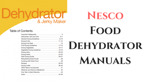 nesco food dehydrator manuals