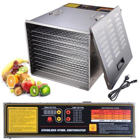 03_Yescom 1200W 10 Tray Food Dehydrator Stainless Steel Fruit Dryer Jerky Maker Commercial
