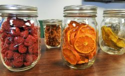 dehydrated oranges in mason jars